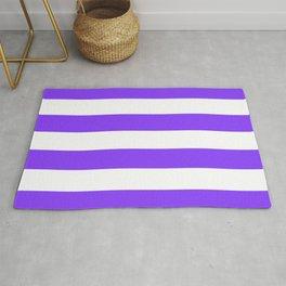 Aztech Purple and White Horizontal Cabana Tent Stripes Rug