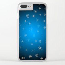Blue christmas snowflakes Clear iPhone Case