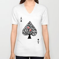 ace V-neck T-shirts featuring Ace of spade by Picomodi