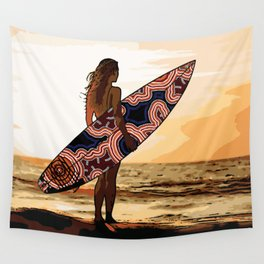 Authentic Aboriginal Art - Surfs up Australia Wall Tapestry