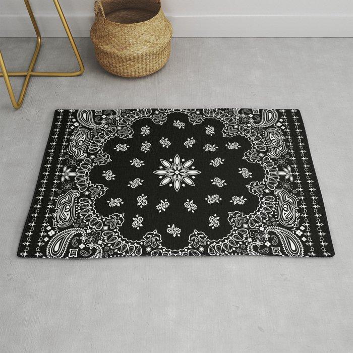 Black And White Bandana Pattern Rug By Martaolgaklara