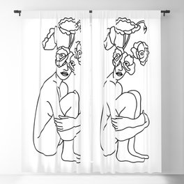 Minimal Line Art Flowers Woman Blackout Curtain