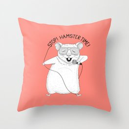 Hamster singing Hamster Time | Red Throw Pillow