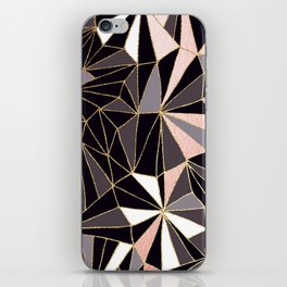 Stylish Art Deco Geometric Pattern - Black, Coral, Gold #abstract #pattern iPhone Skin