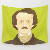 poe Wall Tapestries featuring Poe-faced by Helicon Hill