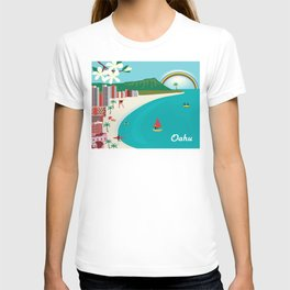 Oahu, Hawaii - Skyline Illustration by Loose Petals T-shirt