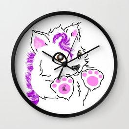 Snowfox - pink Wall Clock