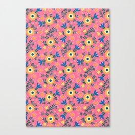 Folk Floral (pink) Canvas Print