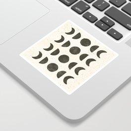 Moon Phases - Black on Cream Sticker
