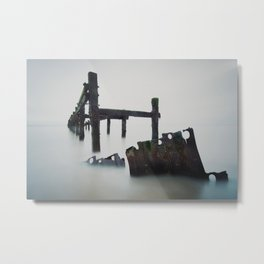 A photograph of old sea defenses  Metal Print