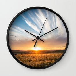Grand Exit - Golden Sunset on the Oklahoma Prairie Wall Clock