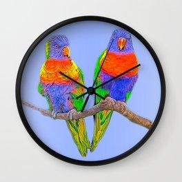 Cute rainbow loris - lorikeet Wall Clock