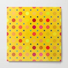 Yellow Dots Pattern Metal Print