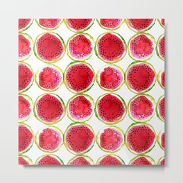 Watercolor watermelon fruit illustration Metal Print