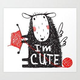 Cute Knitting Crafty Sheep Art Print