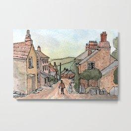 Boscastle Cornwall England Watercolour Print Metal Print