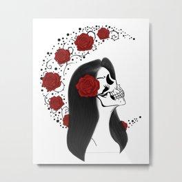 Skull girl rose Metal Print