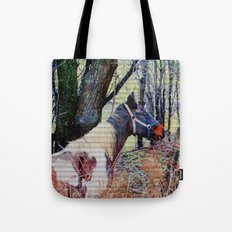 Horse with Blue Bridle Tote Bag