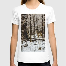 Deer in the Glistening Forest by Teresa Thompson T-shirt