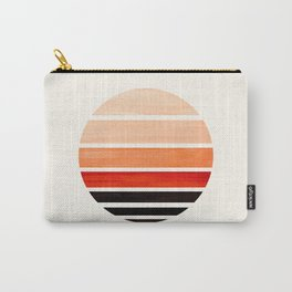 Burnt Sienna Mid Century Modern Minimalist Circle Round Photo Staggered Sunset Geometric Stripe Desi Carry-All Pouch