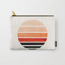 Burnt Sienna Mid Century Modern Minimalist Circle Round Photo Staggered Sunset Geometric Stripe Desi Carry-All Pouch