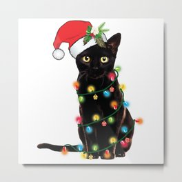 Santa Black Cat Tangled Up In Lights Christmas Santa Graphic Metal Print