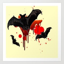 DECORATIVE FLYING BLACK BATS & HALLOWEEN BLOODY ART Art Print
