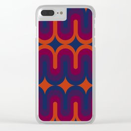70s Geometric Design - Sunset Swoops Clear iPhone Case