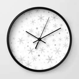 Twinkle Snowflake -Silver Grey & White- Wall Clock