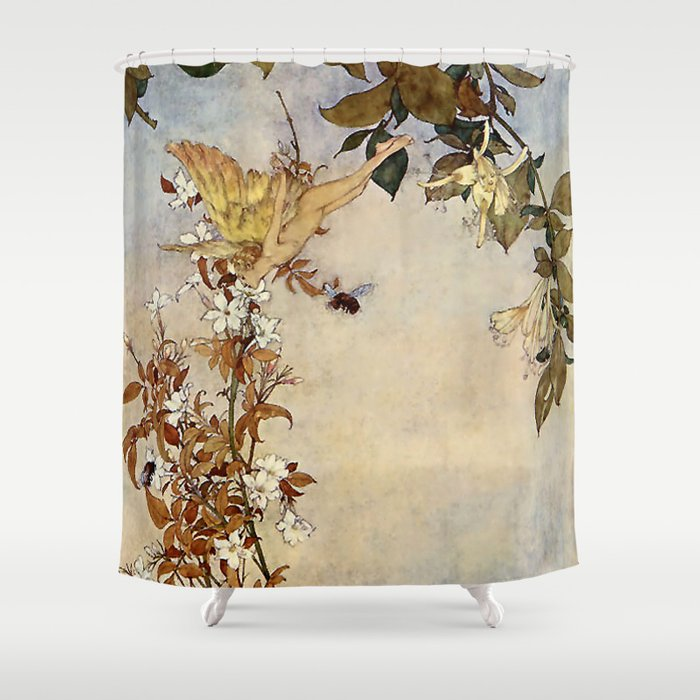 """""""Ariel and the Bee"""" Fairy Tale Art by Edmund Dulac Shower Curtain"""
