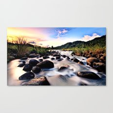 Gorgeous Epic River in Landscape with Sunset Canvas Print