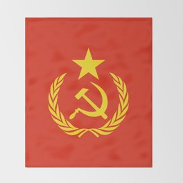 Russian Communist Flag Hammer & Sickle Throw Blanket