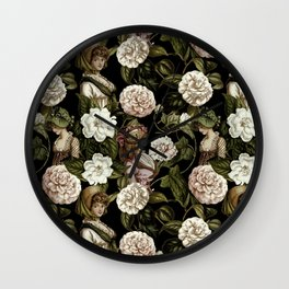Vintage Botanical Flower Lady Pattern Wall Clock