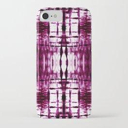 Black Cherry Plaid Shibori iPhone Case