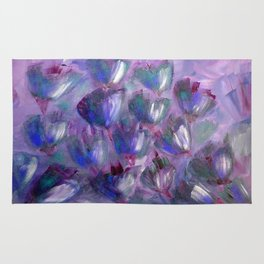 Purple, Red and Blue Abstract Flowers Rug
