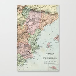 Vintage Map of Spain and Portugal Canvas Print