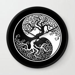 White and Black Tree of Life Yin Yang Wall Clock