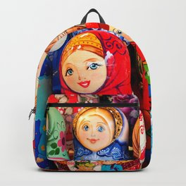 Culture. Group of matrioska, or babushka, symbol of maternity from Russia. Backpack