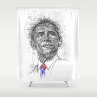 obama Shower Curtains featuring Obama Scribbles (penArt) by Aeriz85