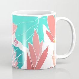 Coral Ginger Flowers + Elephant Ears in White Coffee Mug
