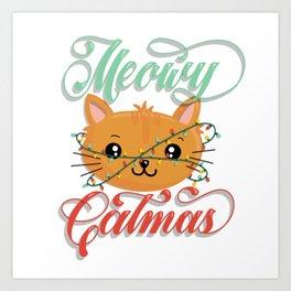 Meowy Catmas Art Print