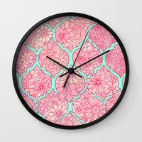 moroccan Wall Clocks featuring Moroccan Floral Lattice Arrangement in Pinks by micklyn