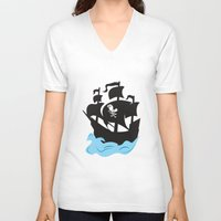 pirate ship V-neck T-shirts featuring Pirate Ship by Anthony Rocco