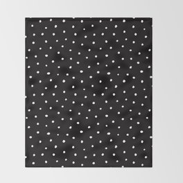 Minimal- Small white polka dots on black - Mix & Match with Simplicty of life Throw Blanket