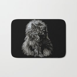 Main Coon Cat Comes For Dinner Bath Mat
