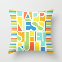happiness Throw Pillows featuring Happiness by Jacqueline Maldonado