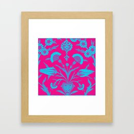 An Ottoman Iznik style floral design pottery polychrome, by Adam Asar, No 48Lf Framed Art Print