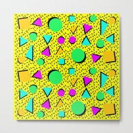 80s Design Yellow Metal Print