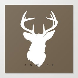 White Deer Silhouette on Dark Taupe Canvas Print