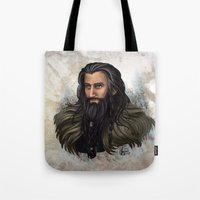thorin Tote Bags featuring Thorin Oakenshield by KuroCyou